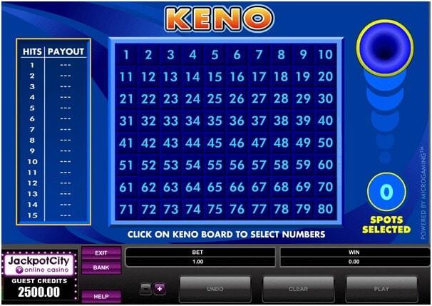 Кено игра в онлайн казино