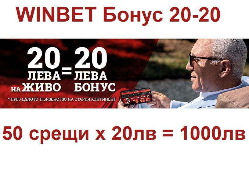 Winbet 20-20 Промо бонус за Европейското първенство