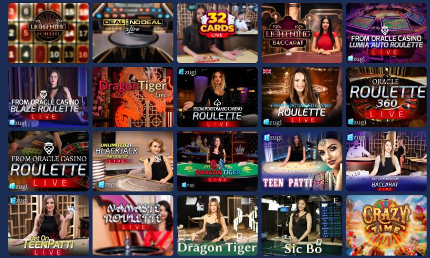 Live casino игрите в казиното на Casoo