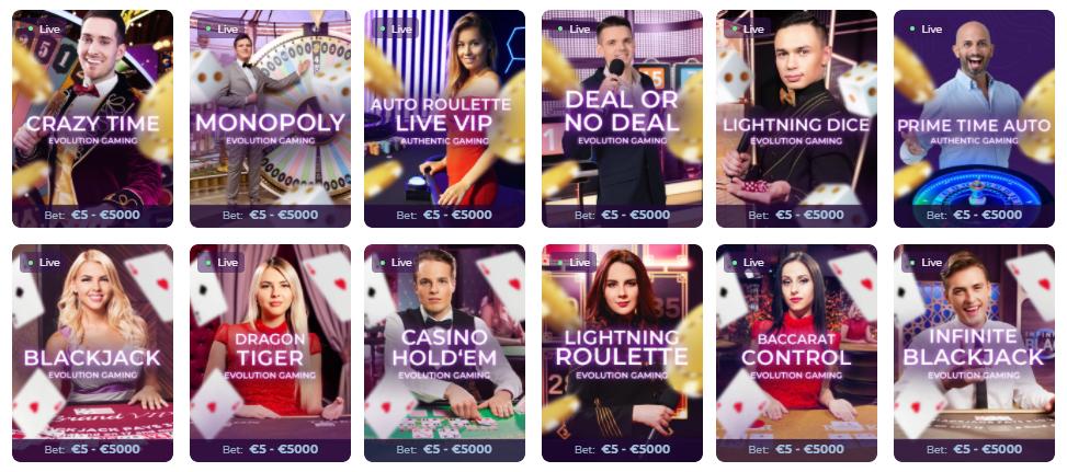 Live казино игри в Wisho